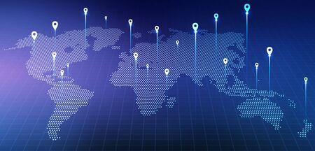Global Business Network. Holographic World Map With Locations Over Blue Background. Panorama, Collage