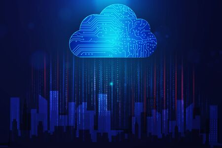 Internet Technologies, Programming And Big Data Collage. Holographic Digital Cloud Above Urban City Buildings On Blue Background. Foto de archivo