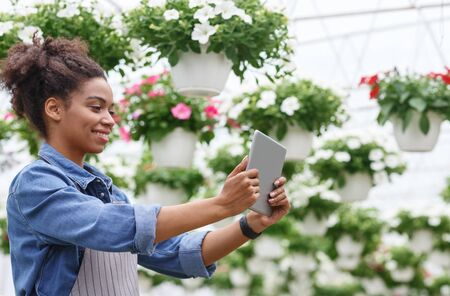 Working with digital technology in greenhouses with flowers. Smiling african american and farm worker girl with tablet making photo in daylight