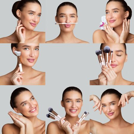 Beautician Concept. Make up collage of beautiful woman holding make up brushes, free space in center of image