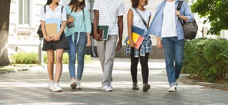 Cheerful teen students leaving college after classes, walking together outddors, cropped image, panorama 版權商用圖片