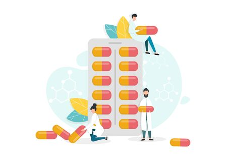 Medicine And Pharmaceutical Research Concept. Vector Illustration Of Tiny Doctors Scientists Holding Capsule Pills Next To Big Blister Pack