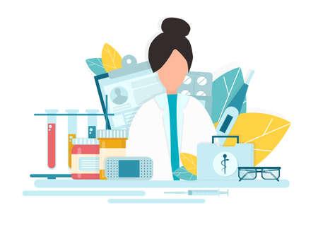 Pharmacy Concept. Creative Vector Illustration Of Female Pharmacist At Drugstore Counter, Flat Design Over White Background