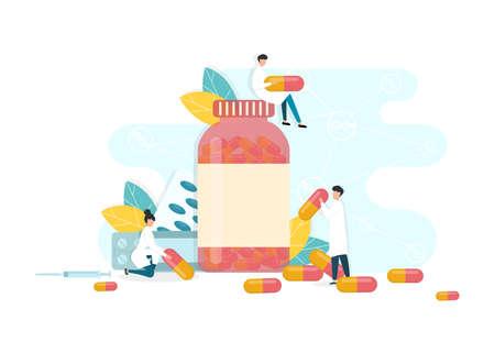 Pharmacists holding diverse medical drugs, white background, vector illustration