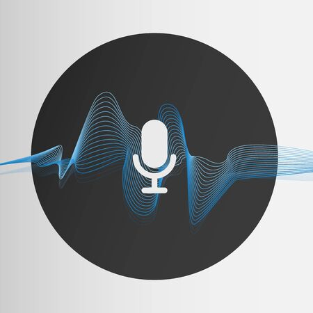 Concept of voice recognition. Vector illustration with sound wave and mic symbol on light background
