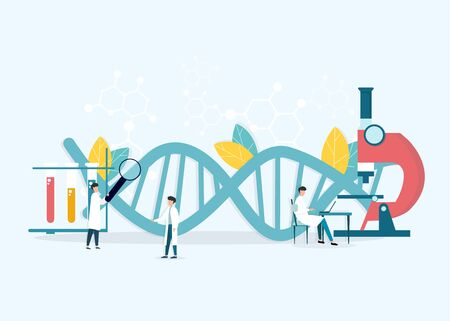 Medical Science. Creative vector illustration of professional scientists doctors working at research laboratory with dna helix on background