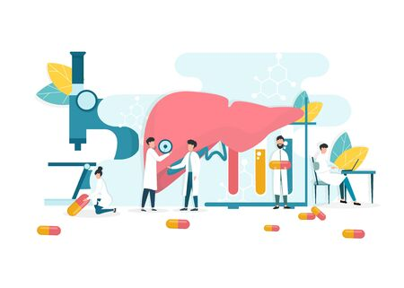 Hepatitis A, B, C, D, Treatment. Vector Illustration Of Tiny Doctors Treating Patients Liver In Medical Laboratory, White Background