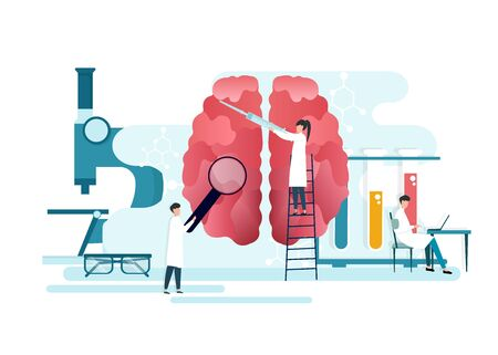 Neurology Concept. Vector Illustration Of Tiny Doctors Examining And Treating Human Brain, Creative Flat Design