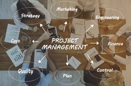 Illustrative idea of project management over top view of working at office business team Zdjęcie Seryjne