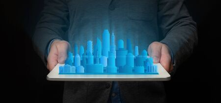 Unrecognizable Architect Holding Tablet With Modern City Holographic Model Standing On Black Background. Panorama, Collage,