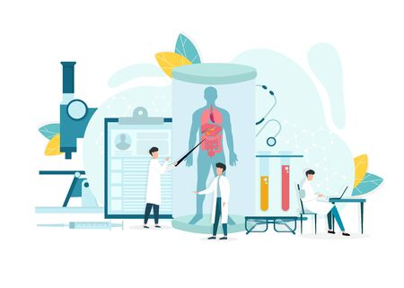 Medical research concept, illustrative image of scientists in laboratory researching human body Ilustração