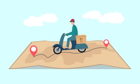 Food delivery service. Delivery guy riding scooter with food box by map over blue background with clouds, illustration