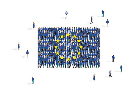 Vector illustration with European Union flag composed of people on white background