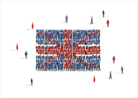 Flag of United Kingdom of Great Britain and Northern Ireland made from crowd of people against white background, vector illustration Ilustração