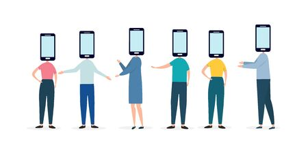Group of diverse gesturing people have phones instead of their head, illustration of chatting mobile app, panorama, vector