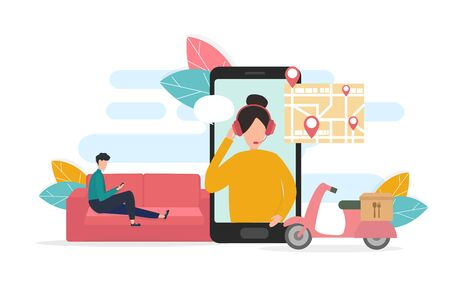 Illustrative image of delivery service application. Man on couch using phone at home, customer service lady on smartphone screen and scooter with food box, vector