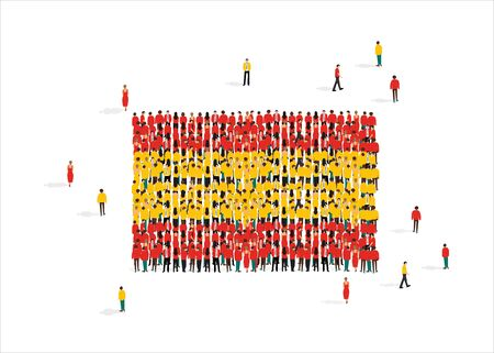 National flag of Spain made up of people mob against white background, vector illustration