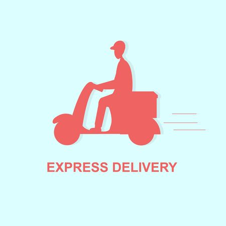 Delivery Boy Ride Scooter Motorcycle Service, Order, Worldwide Shipping, Fast and Free Delivery, red illustration over blue, vector
