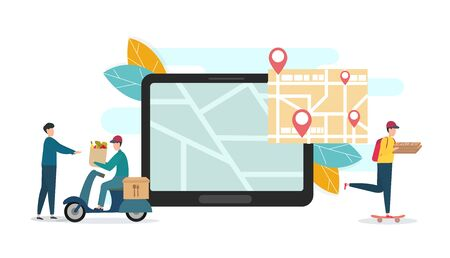 Delivery guys on skateboard and scooter, trecking map on digital tablet, illustration of delivery trecking, panorama, vector