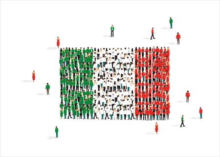 National flag of Italy made from people mob isolated on white, creative vector illustration