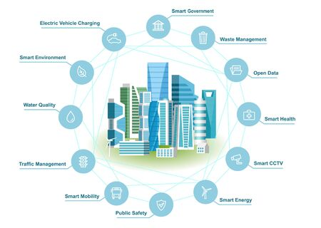 Smart Solutions For Modern City. Vector Illustration Of Urban Landscape And Infographic Communication Network