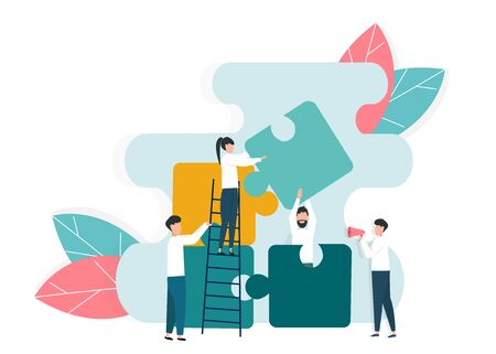 Cooperation and team work concept. Office employees doing puzzle together on white background, vector illustration in flat style