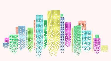 Outline of metropolitan area with colorful skyscrapers on white background, vector illustration. Panorama