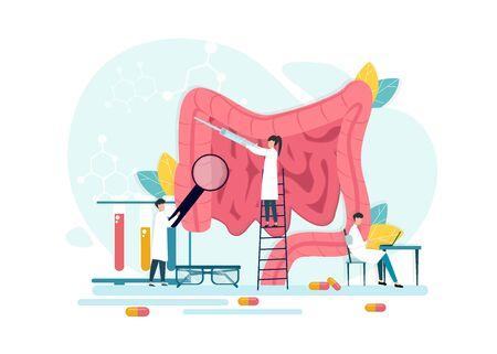 Digestive Tract. Vector Illustration Of Tiny Doctors Treating Human Intestines, Creative Flat Design Isolated On White Background