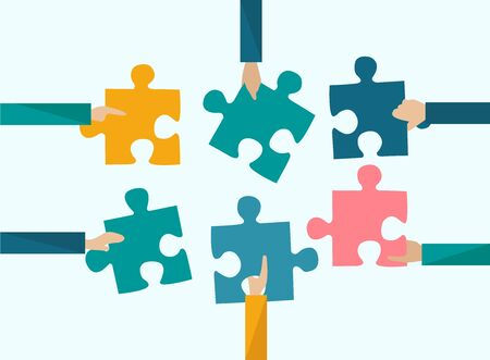 Business partnership concept. Team members putting puzzle pieces together on color background, vector illustration in flat style