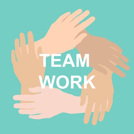 Flat vector illustration with hands joined together and word TEAMWORK on blue background
