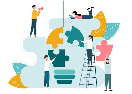 Business collaboration and innovation. People building light bulb from puzzle pieces on white background, vector illustration in flat style Illusztráció