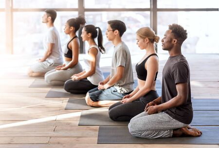 Wellness Concept. Young sporty people in yoga class making meditation exercises together, sitting on mats in modern loft studio, side view