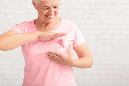 Breast Cancer Prevention. Senior Woman In Pink T-Shirt Framing Cancer Awareness Ribbon Posing Over White Brick Wall Indoor.