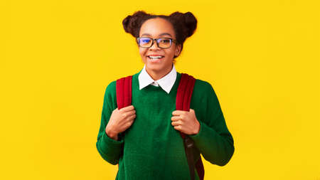 Ready To Study. Portrait of black girl smiling, wearing backpack, looking at camera with copy space. Panorama