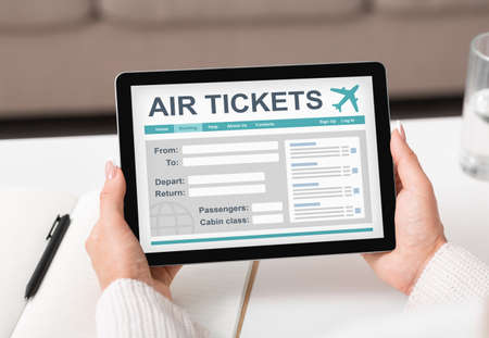Air Tickets. Lady With Digital Tablet Booking Flight Using Online Service Sitting Indoors. Cropped, Closeup, Collage Imagens