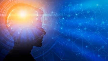 Genius Mindset. Profile Male Portrait With Illuminated Brain Having Enlightment Eureka Moment Over Blue Background. Panorama, Collage, Free Space