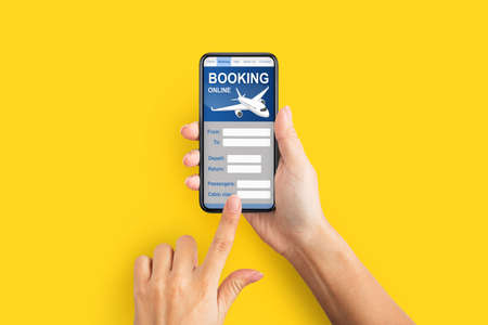 Woman Booking Flight Online Holding Mobile Phone Over Yellow Background. Planning Travel Concept. Collage, Closeup Imagens