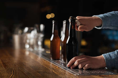 Evening with company in pub. Barman opens beer bottles on wooden bar counter in interior, free space
