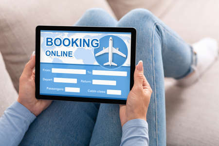 Online Flight Booking. Unrecognizable Girl Buying Air Tickets Planning Travel Holding Tablet Sitting On Couch At Home. Cropped, Collage