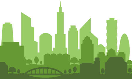 Modern cityscape silhouette in green color isolated on white background, vector illustration