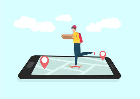 Delivery trecking concept. Pizza delivery guy riding skateboard by map on smartphone screen, illustrative image