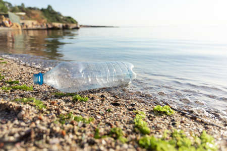 Beach Pollution. Single-Use Plastic Bottle Floating In Sea Water Near Seashore Outside. Ecological Background, Blank Space