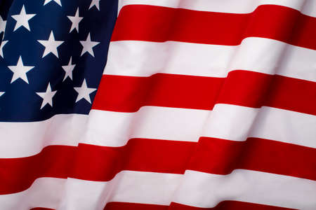 Waving national USA American flag background with copy space. Independence Day 4th July concept Stock Photo
