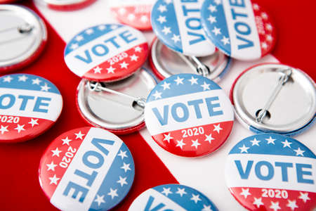 I Voted Today 2020, United States of America election pin buttons on US flag background