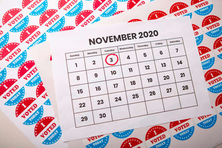 Calendar reminding the day of the elections in the USA, year 2020, november 3rd.
