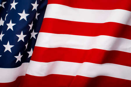 Waving American flag with stars and stripes, independence of USA, United background