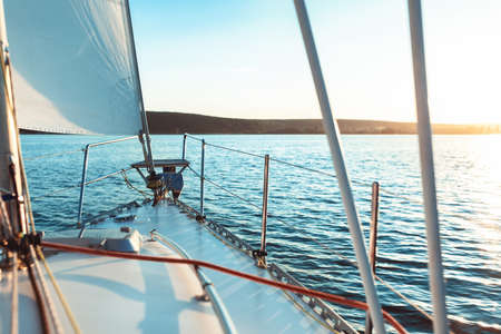 Luxury Yacht Sailing Across The Sea On Sunny Summer Day. Yachting Sport Concept. Free Space, Selective Focus