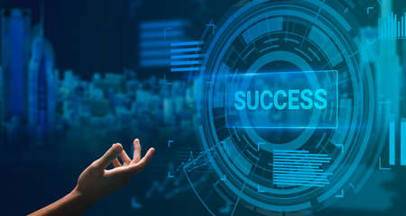 Success And Future Technologies Concept. Side view of hand reaching out to virtual screen with circles panel button, banner, panorama. Double exposure with city in the background