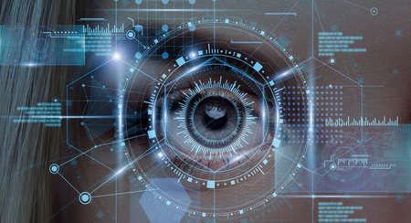 Iris Scanning System. Creative Collage With Female Eye Retina In Process Of Scan With Digital Interface, Biometrical Identification, Data Access Security Protection, Futuristic Design, Panorama