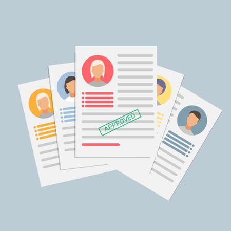 Recruitment. Job Application Forms And Curriculum Vitaes Lying Over Gray Background. Vector Illustration, Square Иллюстрация